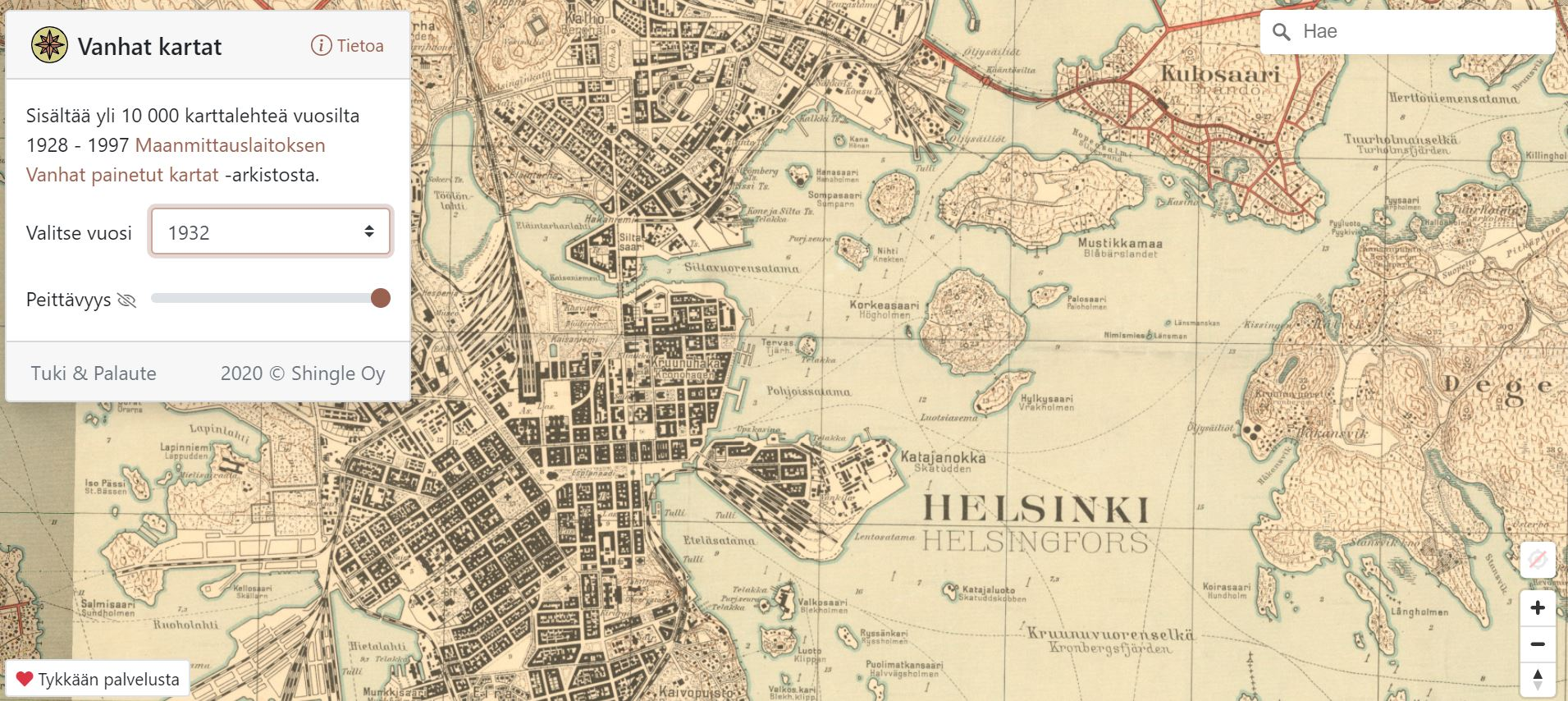 Vanhatkartat.fi shows what Helsinki looked like in 1932.