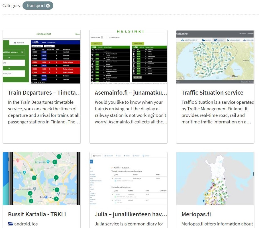 Opendata.fi's showcase gallery lists different examples of applications that are based on open data.
